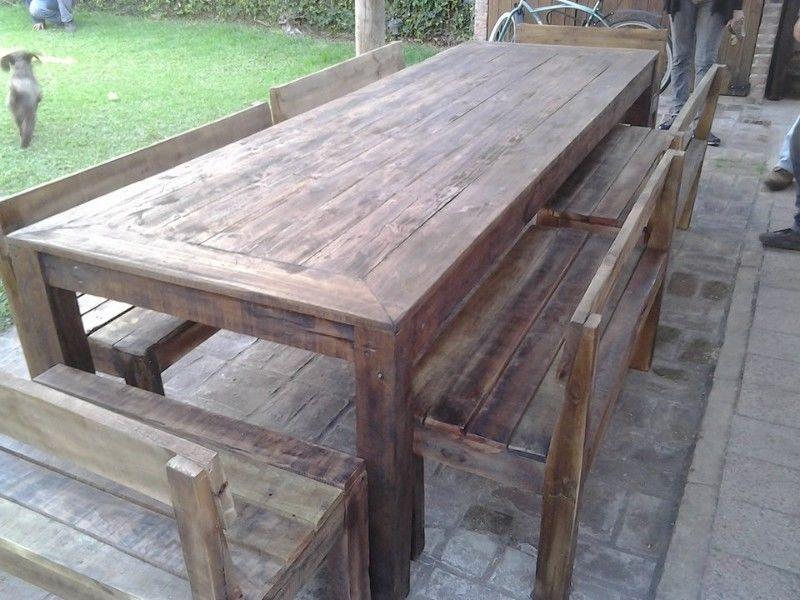 Mesas y mesones en madera reciclada quebracho para - Mesas de madera para exterior ...