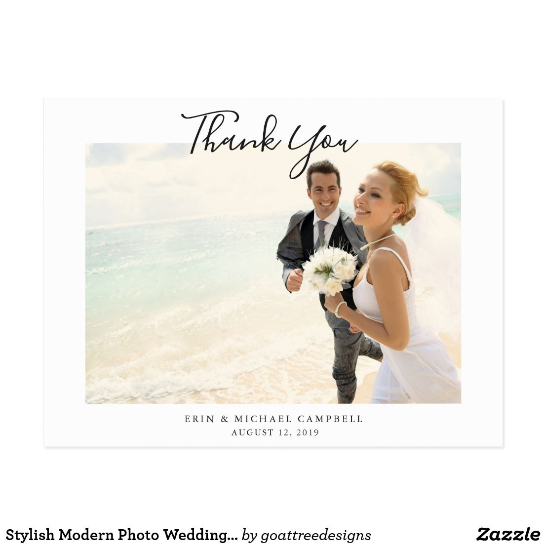 simple elegant and modern wedding thank you postcard template with a white base and minimalist flair with handwriting script thats easy to customize with