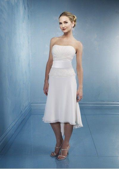 Chiffon Strapless Short Tea-length Dress with Satin Sash WL-0088 ...