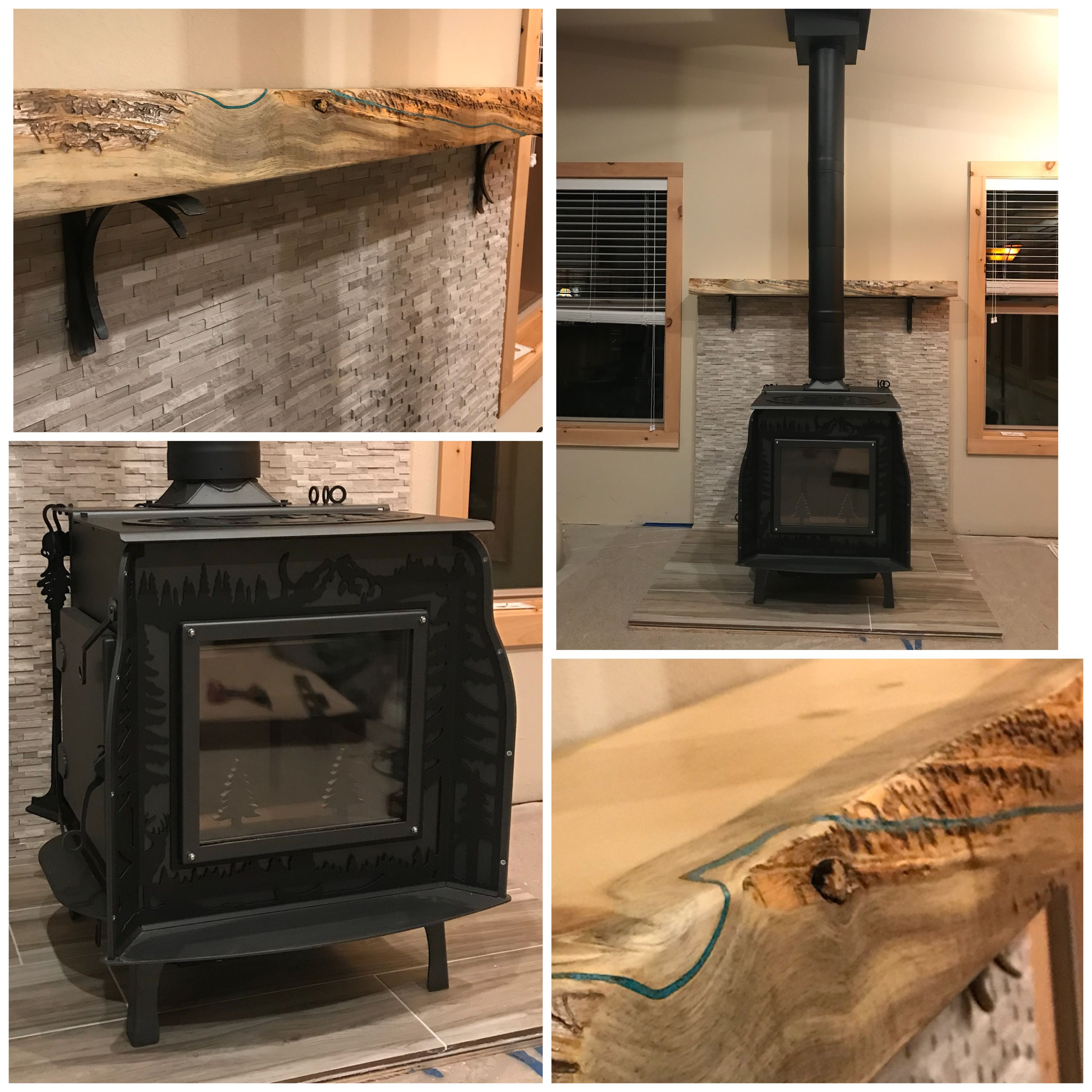 Diy Wood Stove Surround Heat Shield With Live Edge Turquoise Inlay Mantle Woodstock Soapstone Compa Soapstone Wood Stove Corner Wood Stove Wood Stove Surround