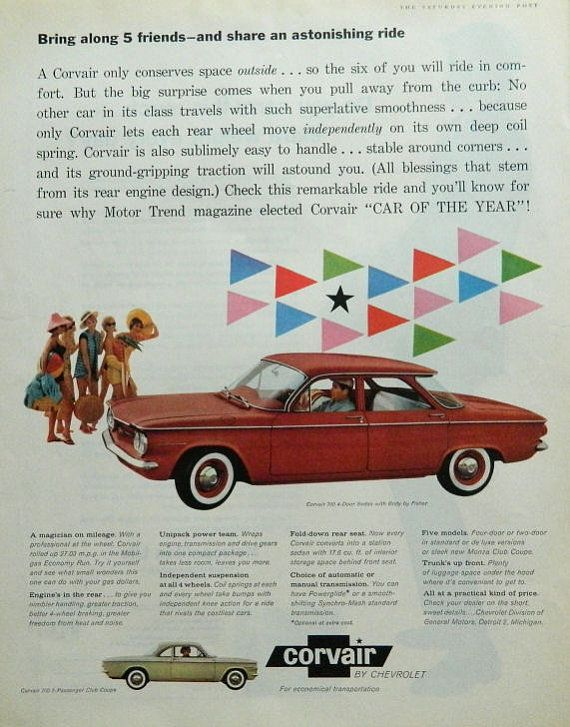 Corvair ad - 1960 Chevy wall decor, Chevrolet collectible or red car ...