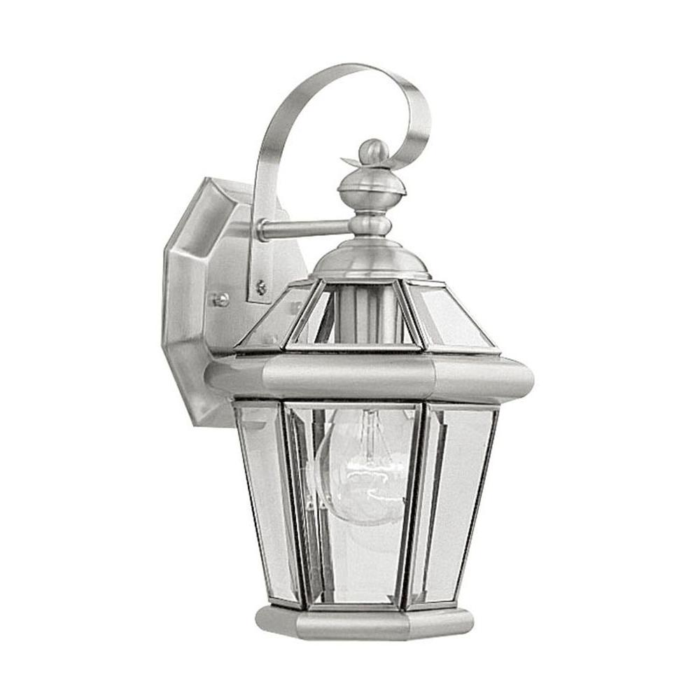 Wallmount light brushed nickel outdoor incandescent lantern