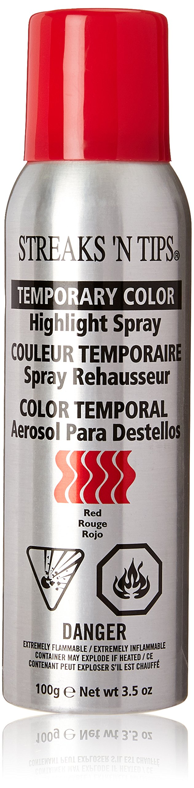 Clubman Streaks N Tips Neon Red Highlight Spray, 3.5 Ounce. It's easily removed with soap and water. Streaks and tips has long been a motion picture industry standard. Great for actors or kids when dressing up in costumes.