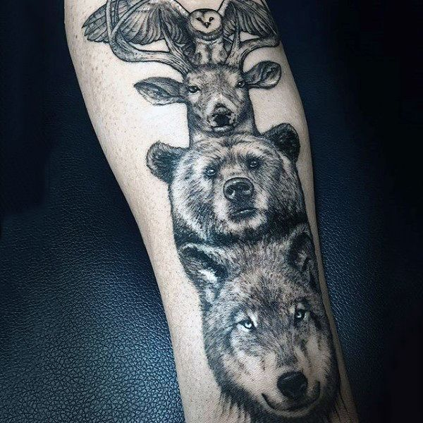 70 Totem Pole Tattoo Designs For Men - Carved Creation Ink
