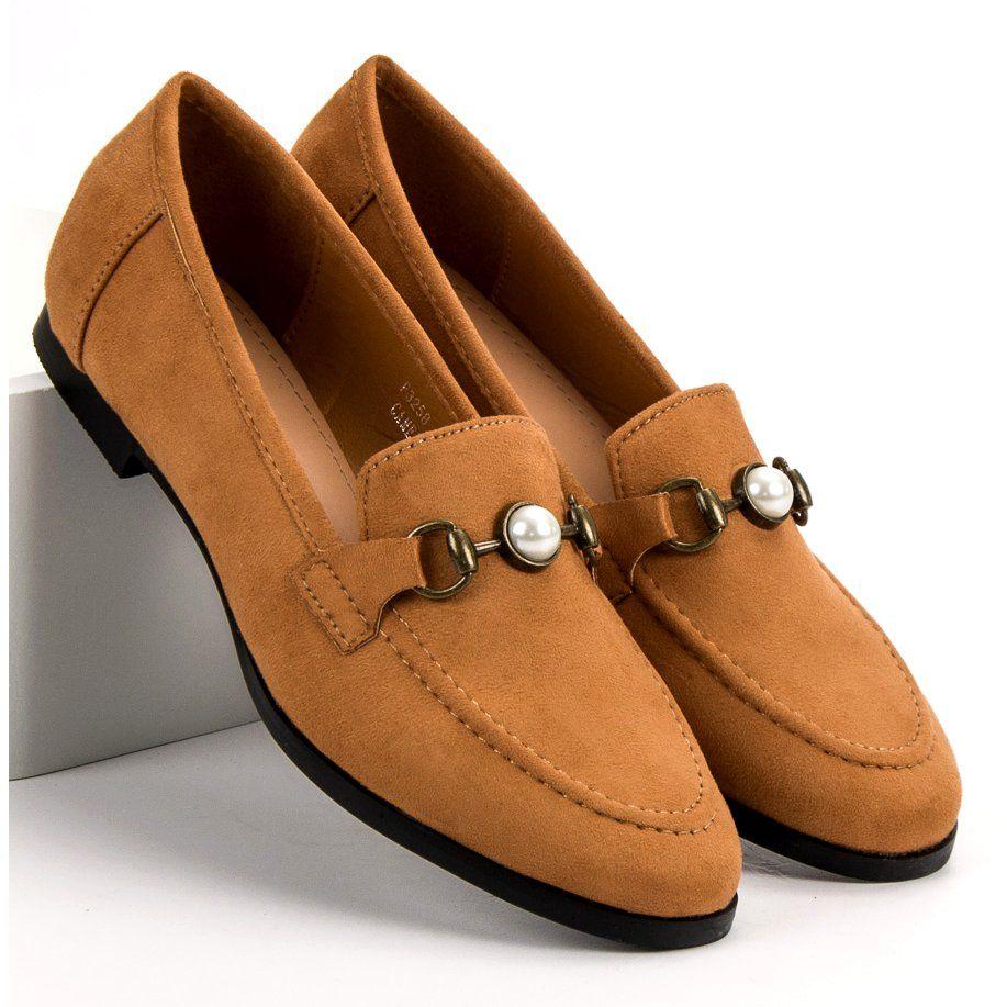 Camelowe Mokasyny Brazowe Dress Shoes Men Loafers Men Oxford Shoes