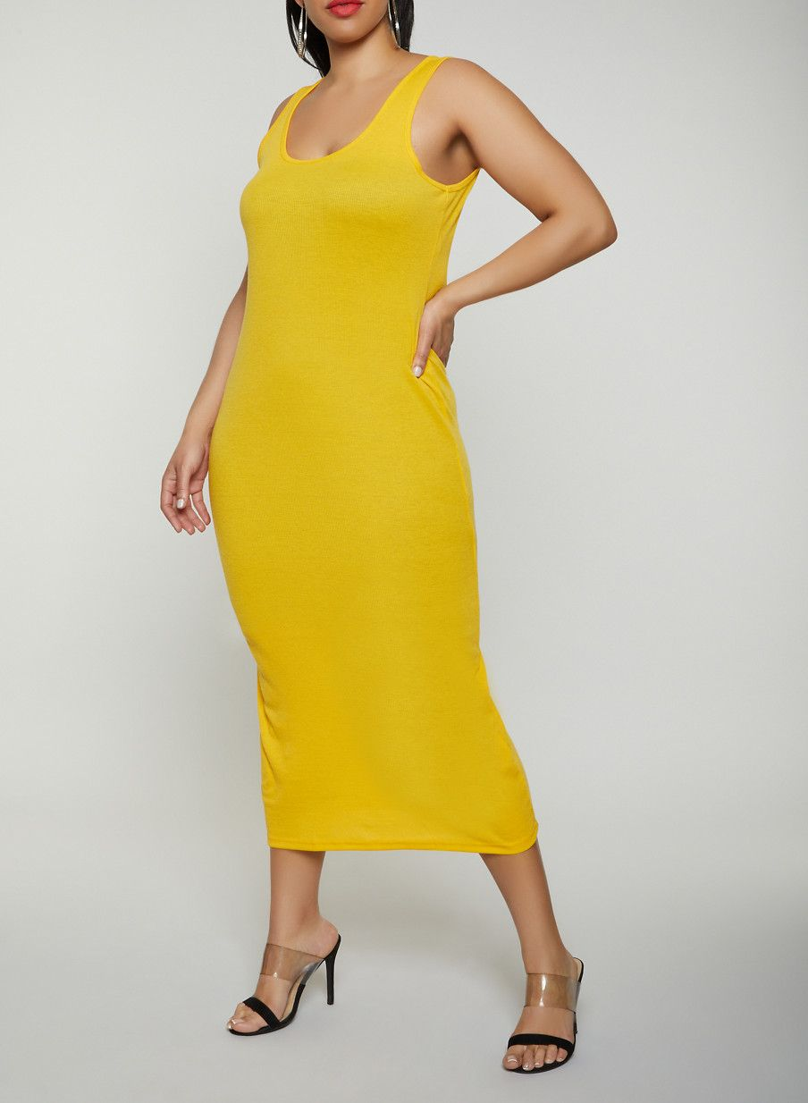 57baad92f97 Plus Size Basic Ribbed Knit Tank Dress - Yellow - Size 2X in 2019 ...