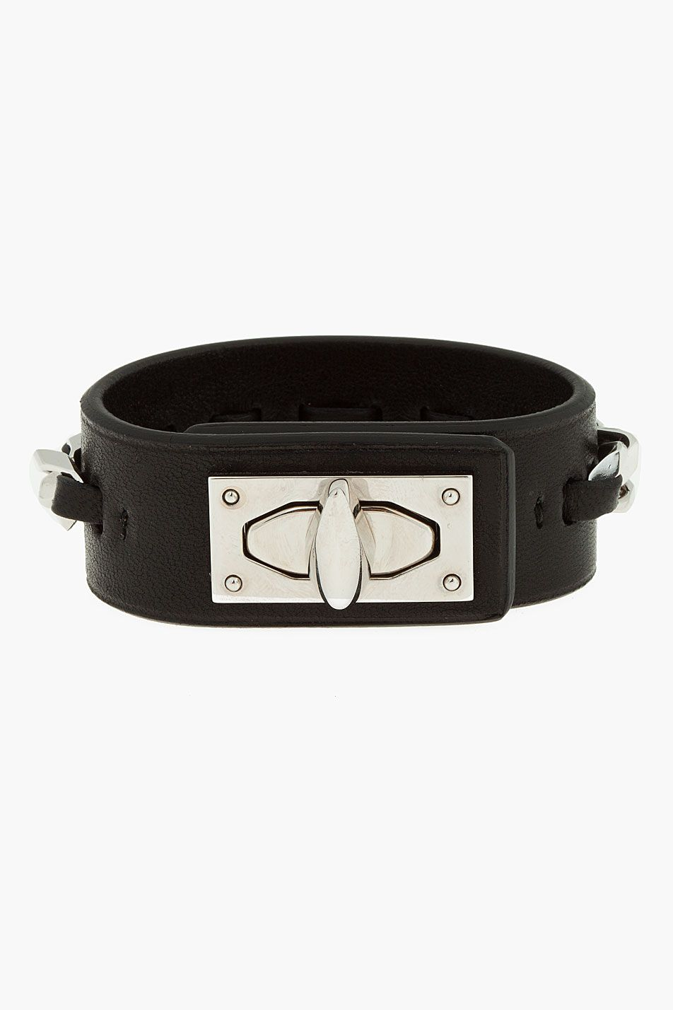 Givenchy Black Leather Sharktooth Chain Bracelet  Givenchy Black Leather  Sharktooth Chain Bracelet Givenchy Leather Bracelet