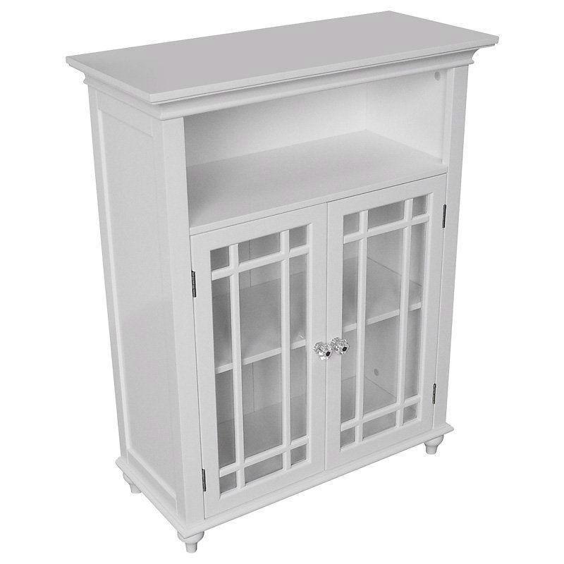 Classic White Wood 2 Door Bathroom Floor Cabinet With Glass