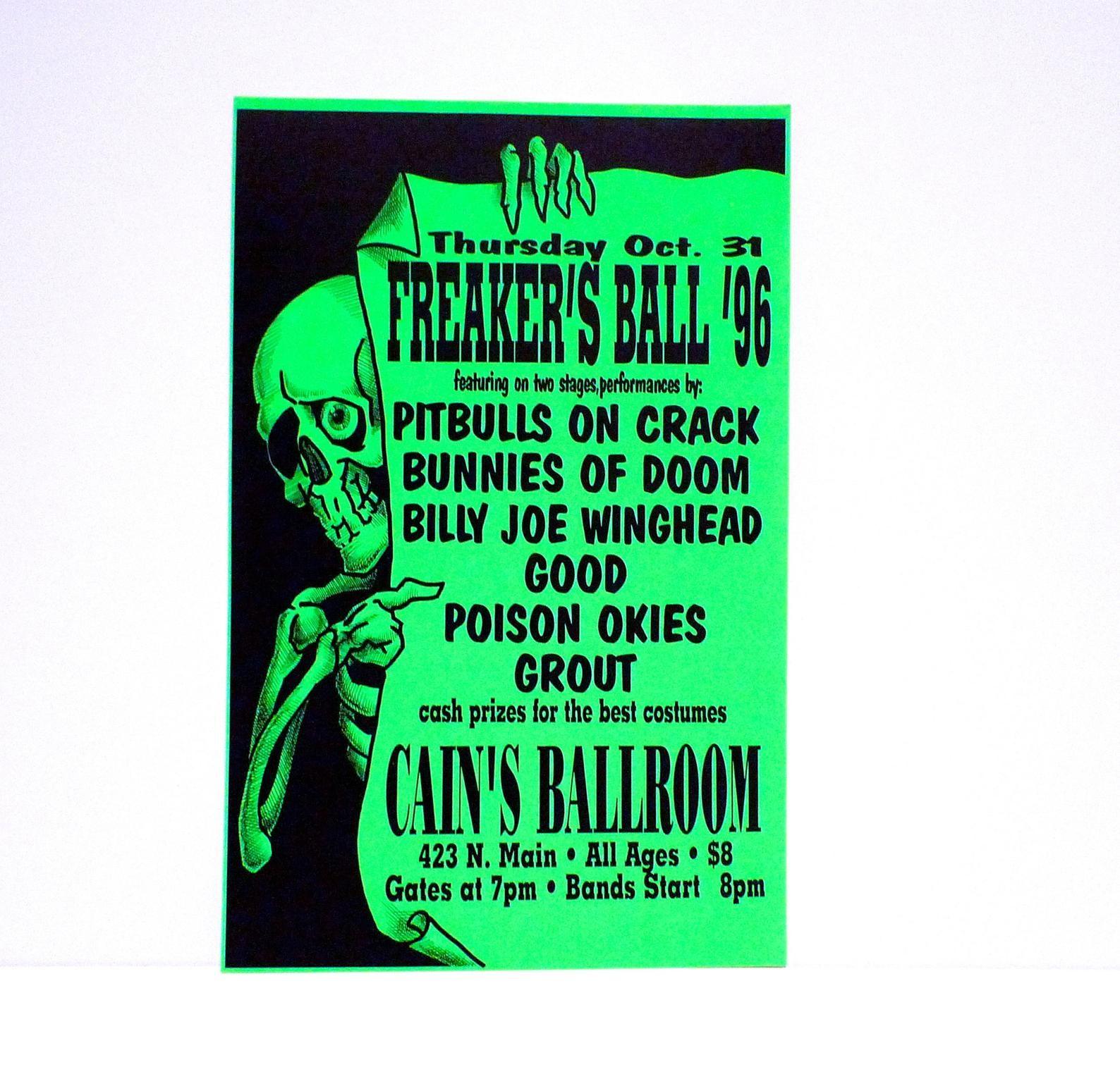 Halloween Parties Tulsa 2020 Freakers Ball Poster 1996 Concert Tour Vintage Cains Ballroom