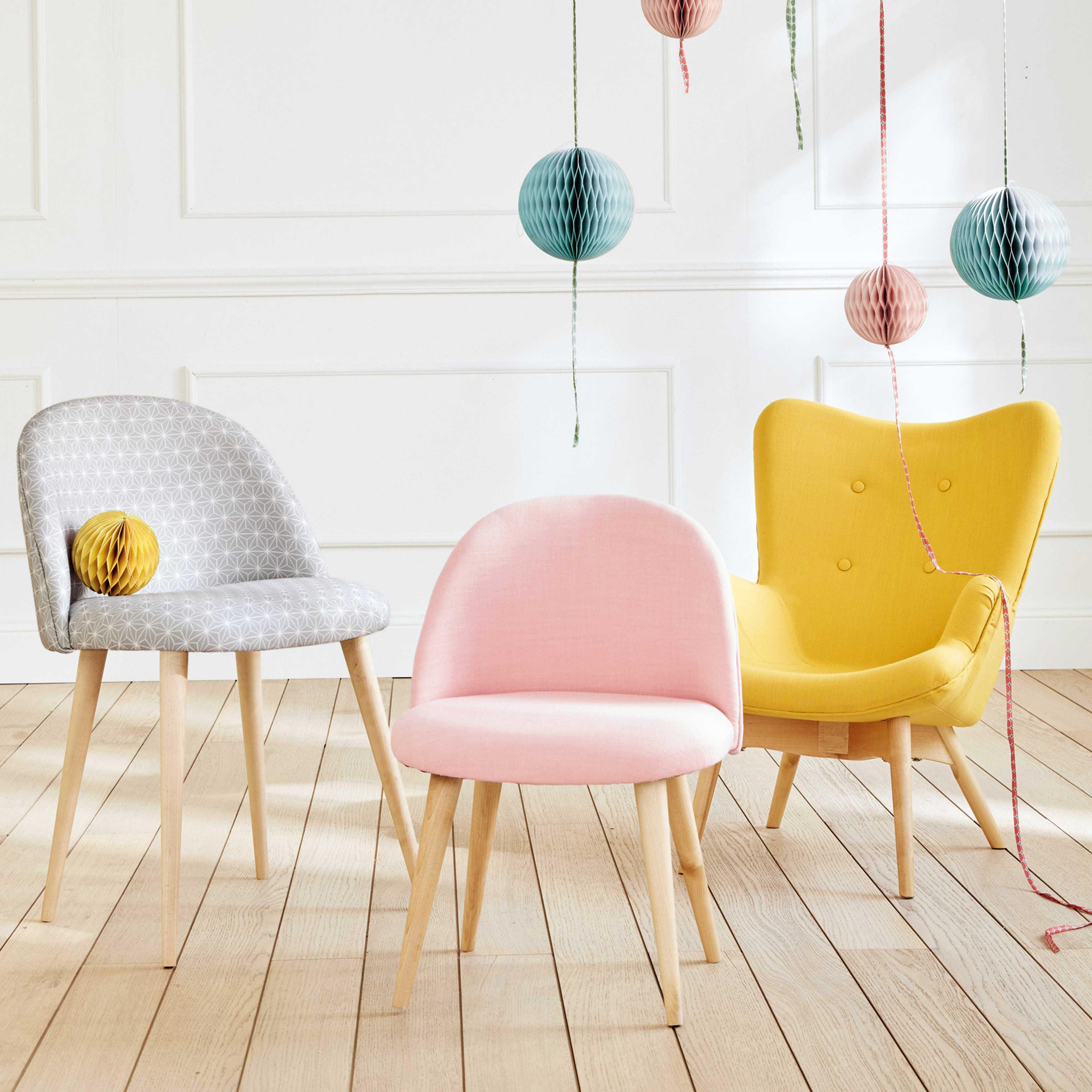 Chaise enfant vintage rose et bouleau massif  Chambre d