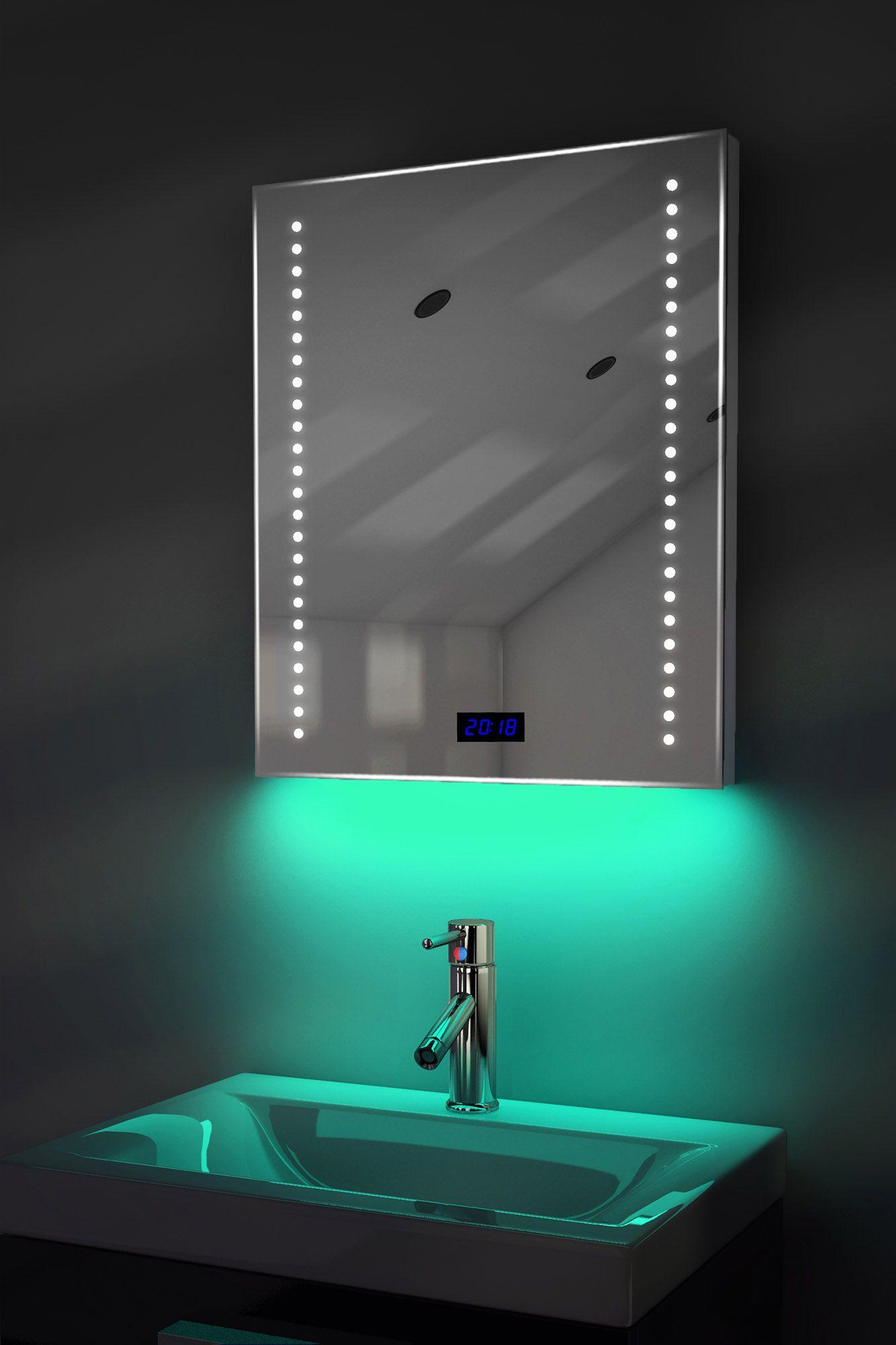 Digital Clock Shaver Bathroom Mirror With Under Lighting Demist Sensor K191t Bathroom Clock Bathroom Design Luxury Luxury Bathroom Faucets
