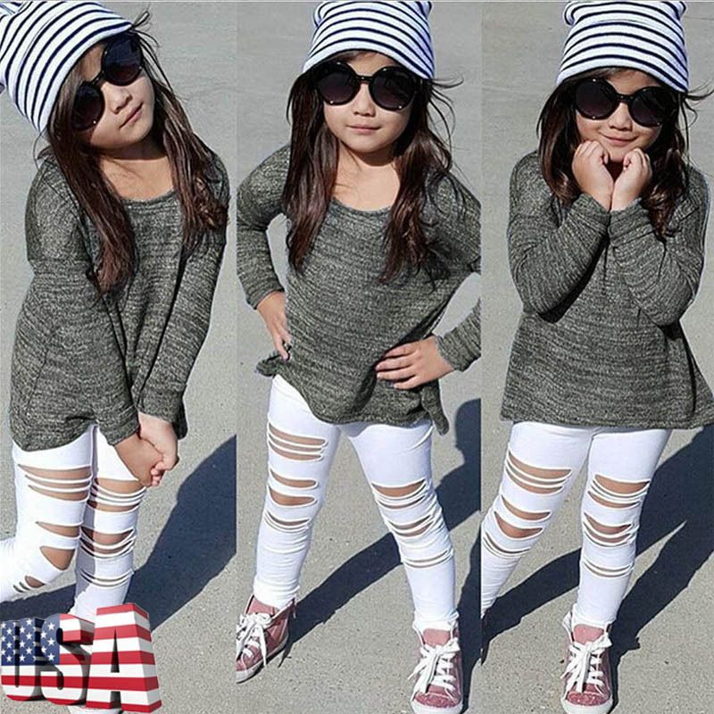 Kids Baby Boys Clothing Sets Long Sleeve Shirt and Ripped Denim Pants Outfits