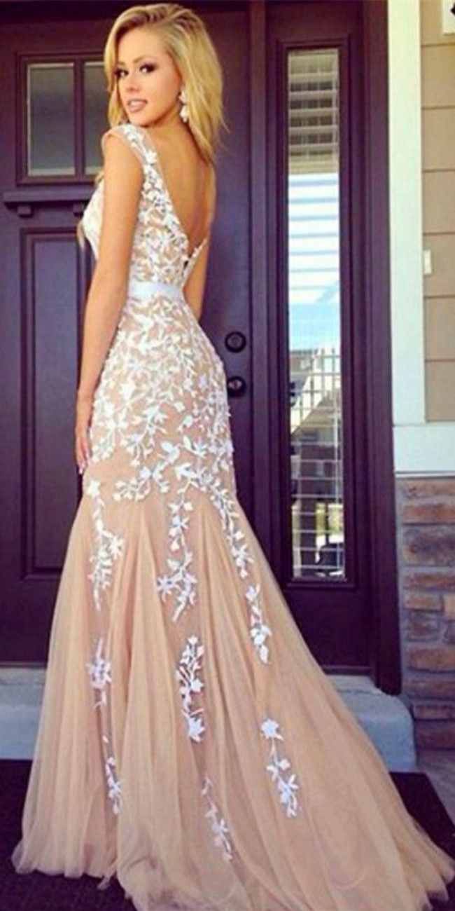 Line backless lace prom dresses, lace evening dresses | •dreѕѕeѕ ...
