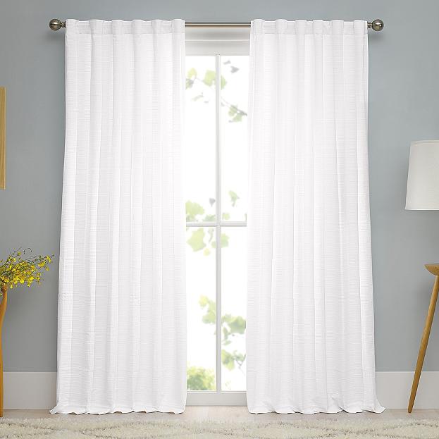 100 Cotton Woven Ribbed Matelasse Window Curtain Panel