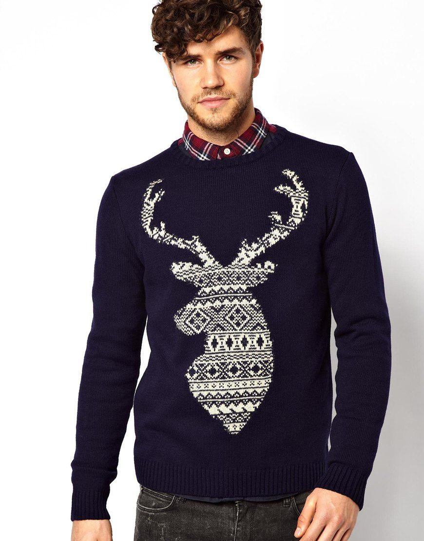 Jumper by River IslandCrew neckLarge stag print on chestRibbed hem ...