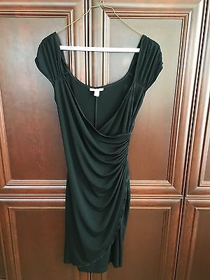 Boston Proper Black Date Night dress Ruched side cap sleeve Size 8