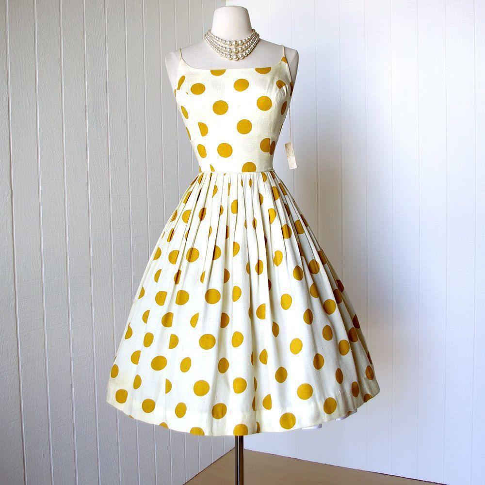 vintage 1950's dress never worn polka dots slubbed linen full skirt pin-up party sun dress. $190.00, via Etsy.