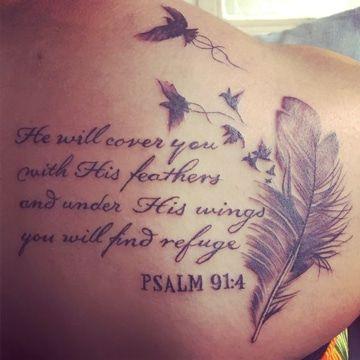 Hermosos y elegantes tatuajes de plumas en la espalda Tattoo - tatuajes de plumas