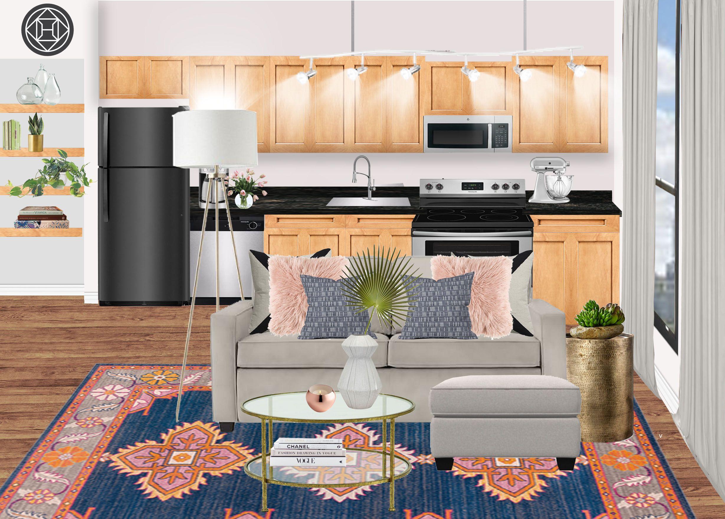 Bohemian Global Living Room Design By Havenly Interior Designer