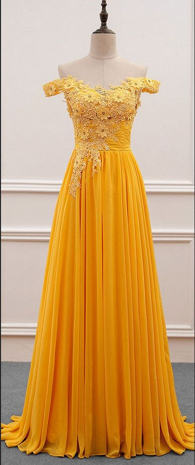 Yellow Off Shoulder Long Chiffon Party Dresses, A-line Prom Dresses ...