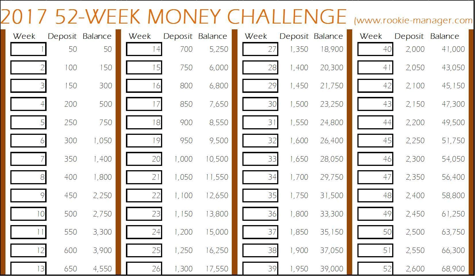 52 Week Worksheet