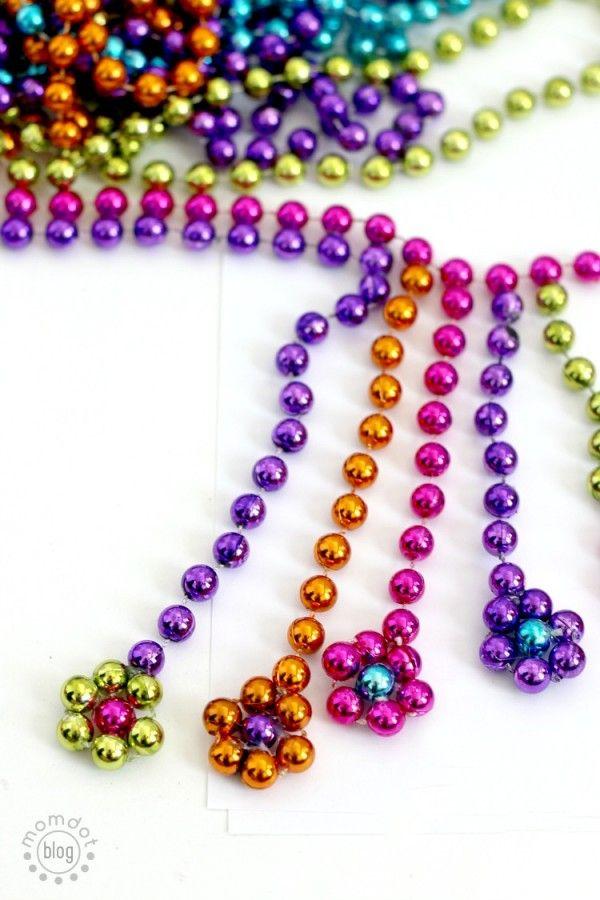 DIY Mardi Gras Flower Necklace: Repurpose your Mardi Gras beads into a statement necklace