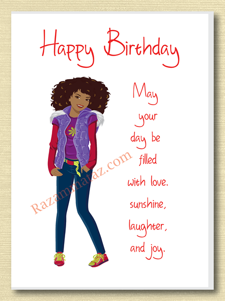 African American Girl Birthday Card F – African American Birthday Cards