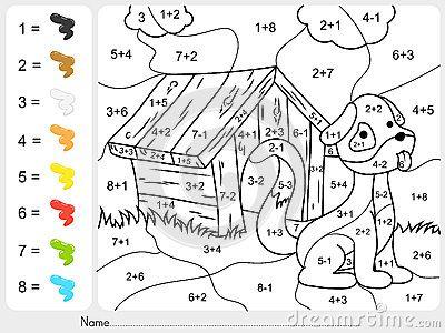 Pinte a cor por números da adição e da subtração | cosas guardadas ...