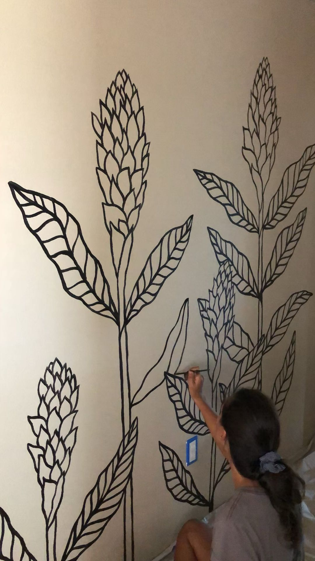Hand Painted Floral Wall Mural