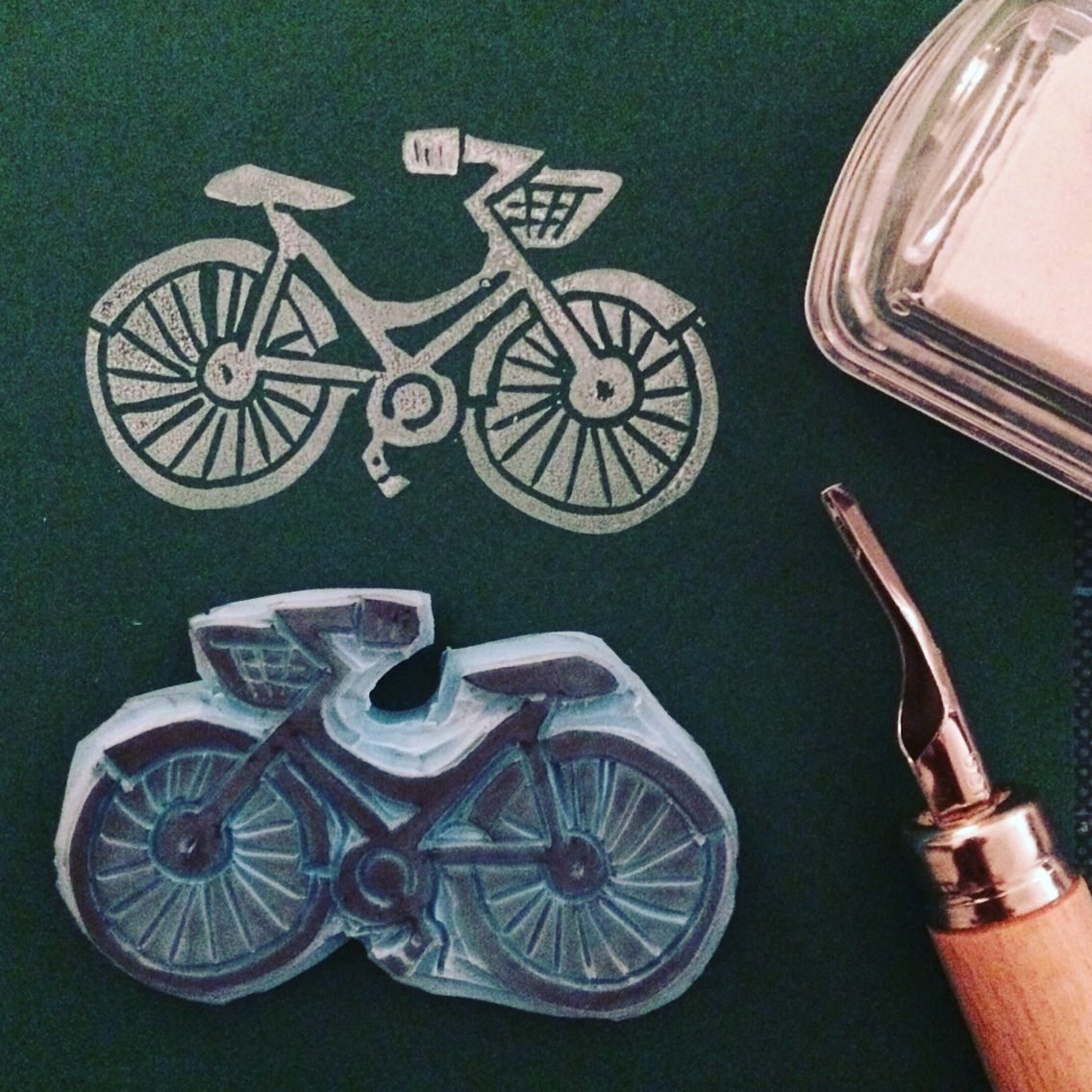 Bicycle hand carved stamp