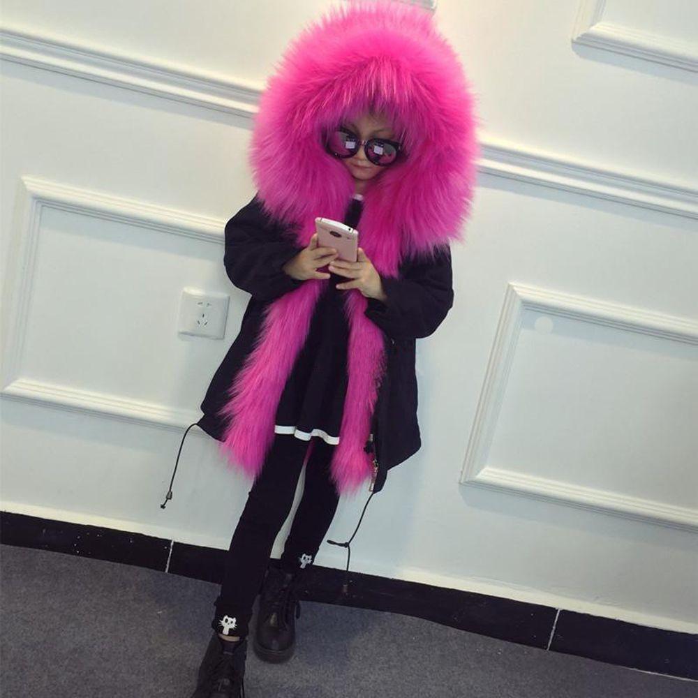 d0bf30f7b692 Girls Faux Fox Fur Winter Parka Detachable Long Liner Coat Toddlers ...
