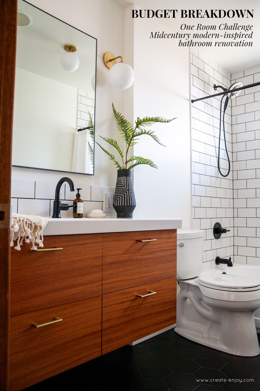 Photo of MCM-inspired black and brass bathroom reno BUDGET!