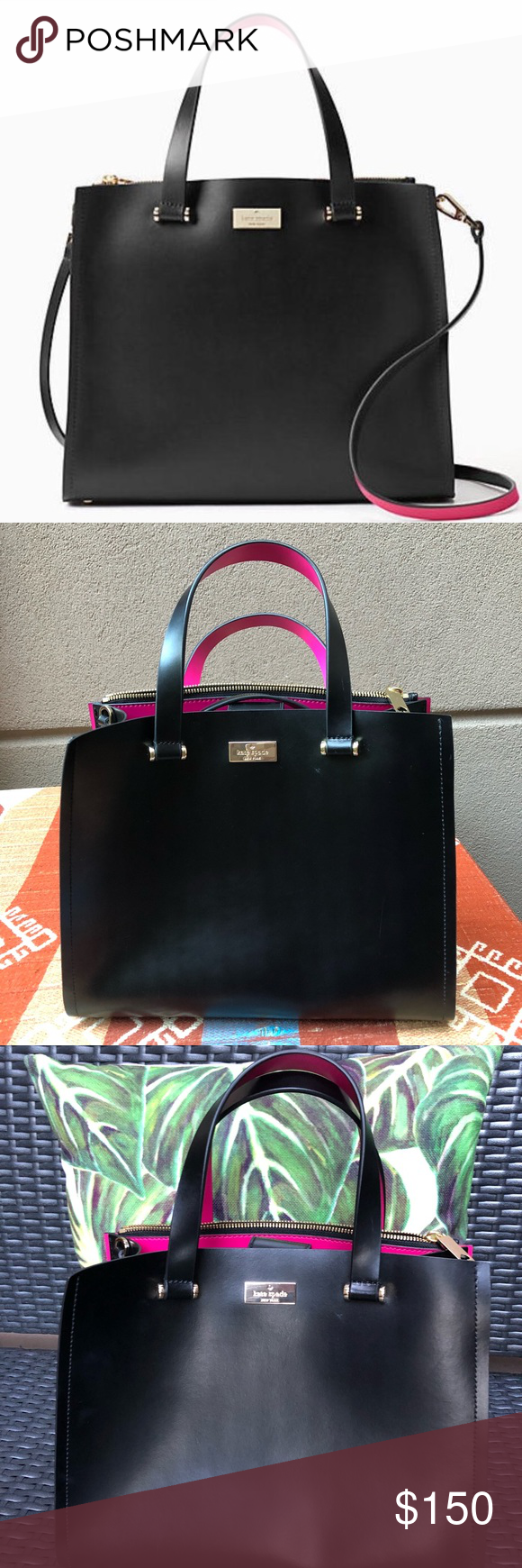 f6aa0f5b0f7e Kate Spade Arbour Hill Kyra Crossbody Black Brand new without tags. Black  w  sweetheart pink detail Gold hardware Adjustable removable strap  Measurements  ...