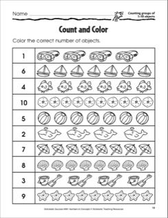 Count And Color Counting Groups Of 1 10 Objects Math Practice