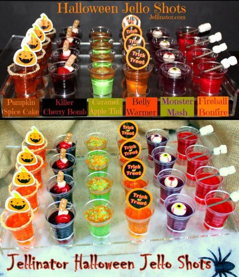 RECIPE: Halloween Jello Shots. Nothing says 'retro' like Jello. Here are some great ideas for Halloween Jello Shots for your guests. Vintage Halloween Decorating & Retro Theme Party Ideas #halloweenjelloshots