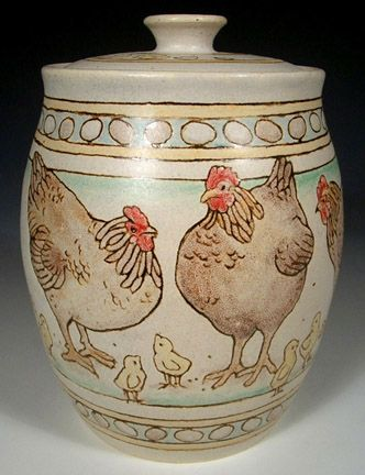 Hens And Rooster Cookie Jar By Nan Hamilton Coq Poussins Poule