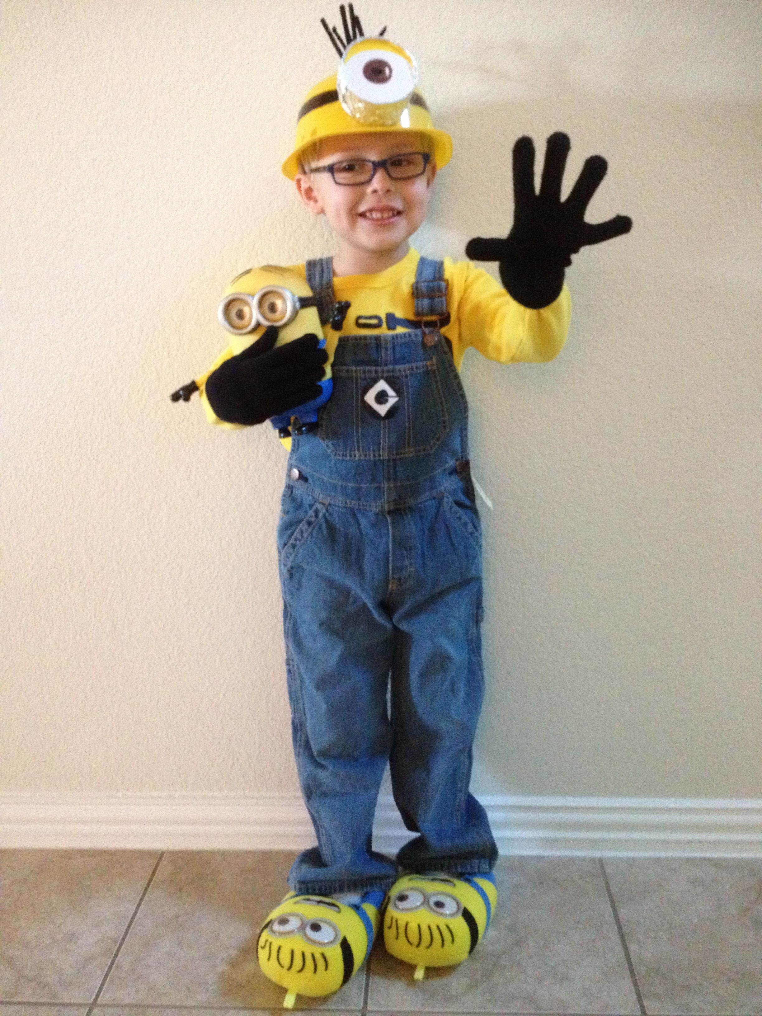 My sons halloween costume diy despicable me minion costume my sons halloween costume diy despicable me minion costume oshkosh shirt and overalls sticker for gru symbol biocorpaavc Image collections