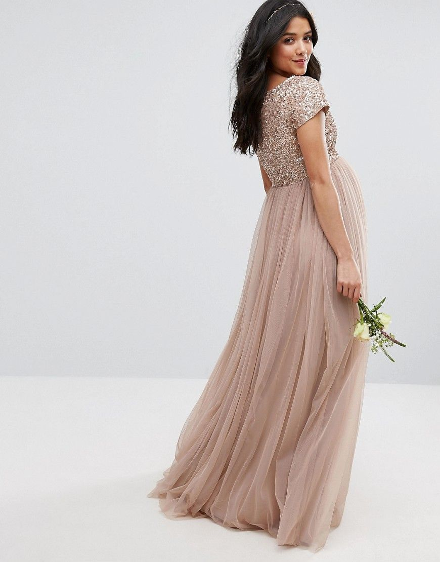 f9e6b8b6d2 Maya Maternity Maxi Dress With Delicate Sequin And Tulle Skirt - Gray