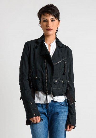 Greg Lauren Army Tent Brando Jacket in Black