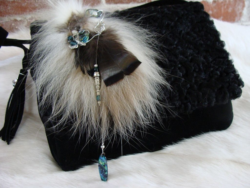 Small recycled fur handbag