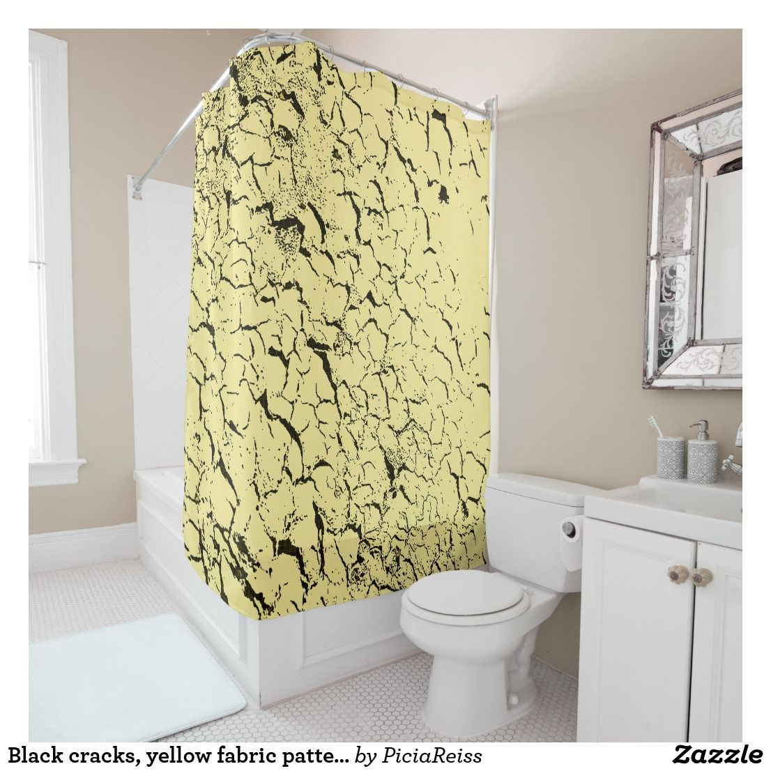 Black Cracks Yellow Fabric Pattern Grunge Design Shower Curtain