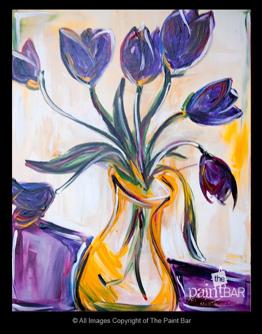 Purple tulips painting paintings spring pinterest for Painting with a twist fenton mi