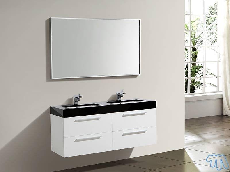 Meuble salle de bain Blanc laqué Double vasque Miroir MANA Salles