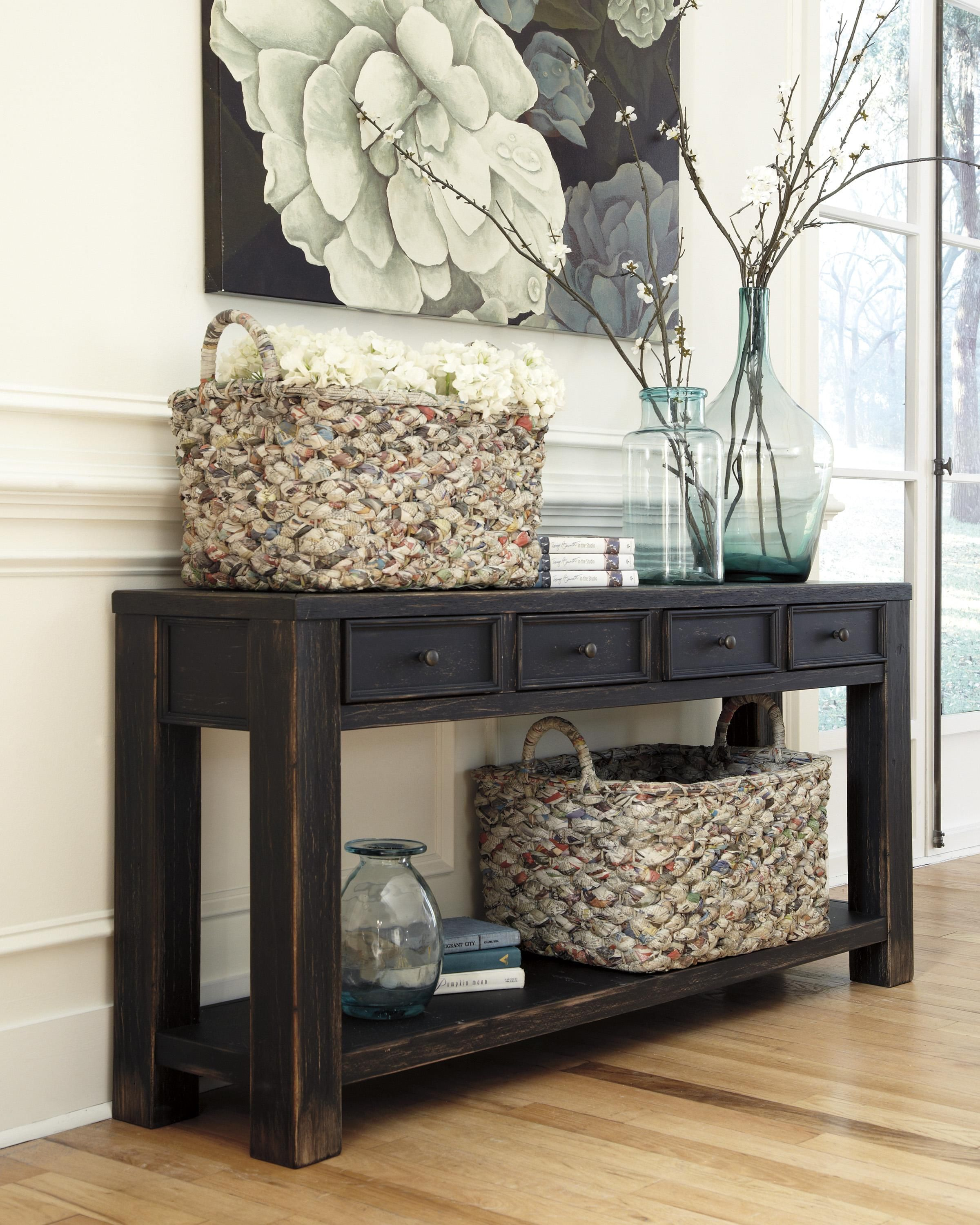 Gavelston Distressed Black Sofa Table With 4 Drawers