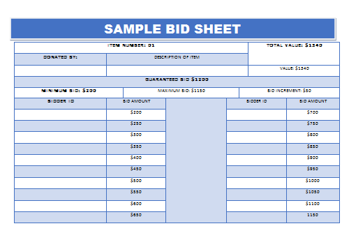 Free Bid Sheet Template Unique Silent Auction Bid Sheet Example 2  Silent Auction Bid Sheet .