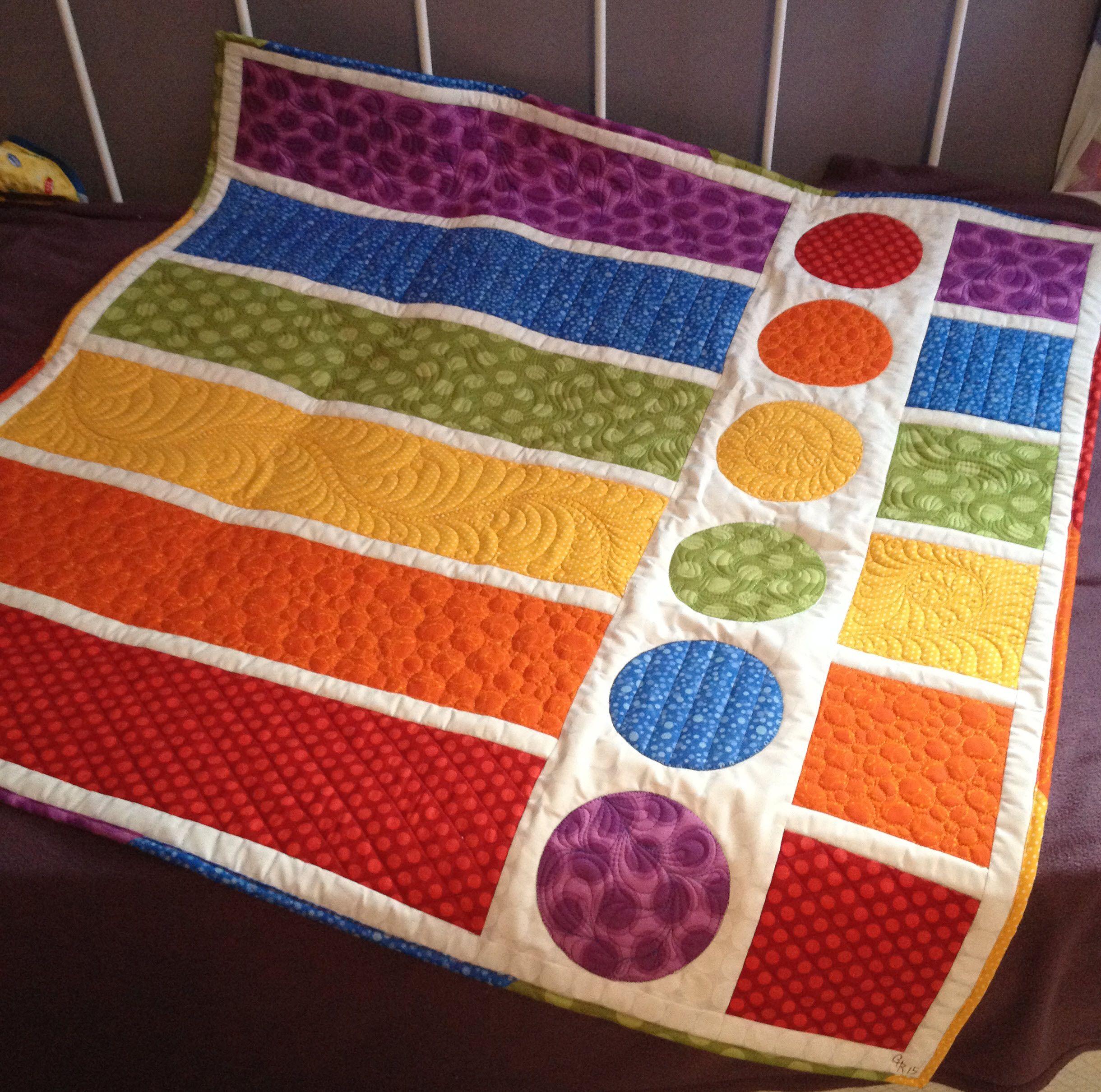 Rainbow Polka Dots – Baby Quilt Part 2 | Nähideen, Decken und ...