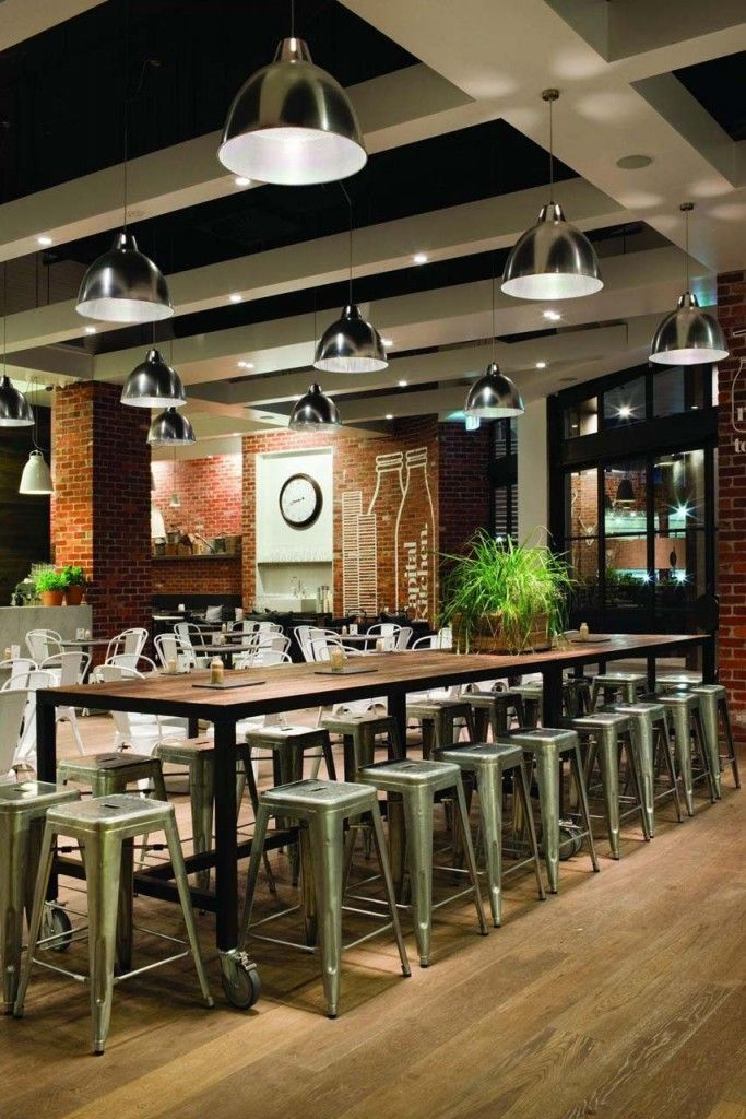rustic industrial feel cool lighting communal tables cafe interior designcafe