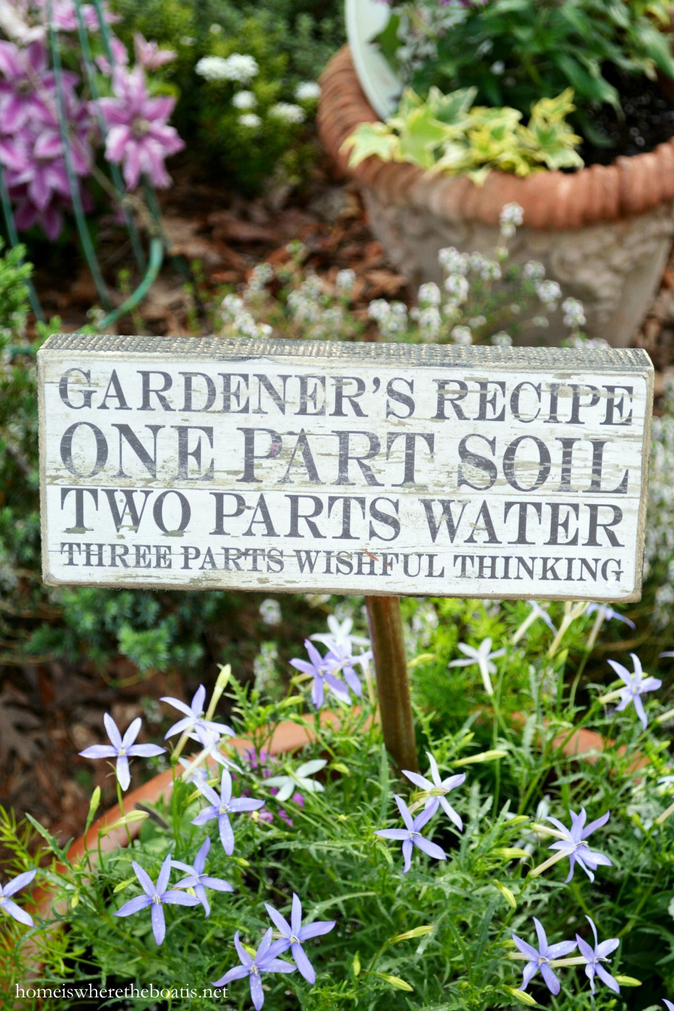 Gardener's Recipe for Planting Summer Annuals is part of Garden quotes, Herb garden, Flower garden, Plants, Garden, Gardening humor - My Gardener's Recipe for planting is one I follow every year One Part Soil Two Parts Water Three Parts Wishful Thinking  I'm always thrilled to see blooms return in the spring, a mini…