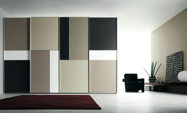 wohnzimmer ideen-holz schrank-lösungen beige-schwarz geometrische