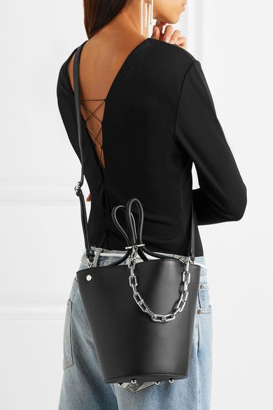 Roxy Chain-embellished Leather Bucket Bag - Black Alexander Wang r33wrQTVqW